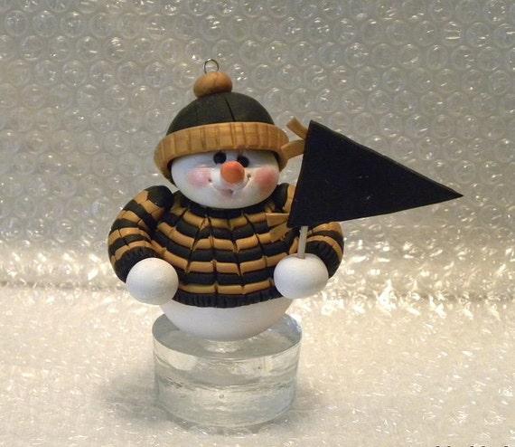 Snowman Ornament, New Orleans Saints Team Colors