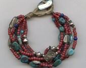 reserved for Pamela-6 strand abalone button red white heart treasure bracelet