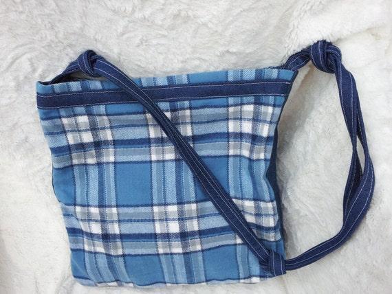 SALE...Denim and  Baby Blue Plaid  Shoulder Bag /  Zipper Closure/ Stocking Stuffer Gift for Teen Girls under Twenty Dollars