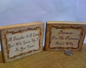 Two Handmade Wooden Block-Pick Your Standard Saying-FREE SHIPPING