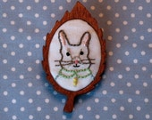 Hand Embroidered Bunny Rabbit Portrait Wooden Brooch