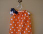 Orange/White Polka Dot Dress (with blue pin dot bow)