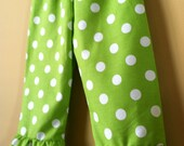 Green Polka Dot Ruffle Pants/Capris