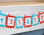 """Red Blue Turquoise Blue Stripe Dot """"It's a Boy"""" or """"It's a Girl"""" Banner - Cupcake Toppers, Favor Tags & Door Sign Available"""