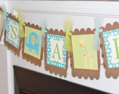 "Mod Jungle Zoo Giraffe , Lion, Bird or Elephant Green/Blue and Brown Baby Shower ""It's A Girl"" or ""It's A Boy"" OR Custom Name Banner"