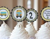12 Yellow School Bus Theme Birthday Cupcake or Cake Toppers - Ask About our Party Pack Sale - Free Ship Over 65.00