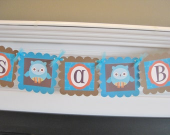 """Mod Owl Jungle Zoo Blue, Brown & Orange Baby Shower """"It's A Boy"""" OR """"Mom to Be"""" Banner"""