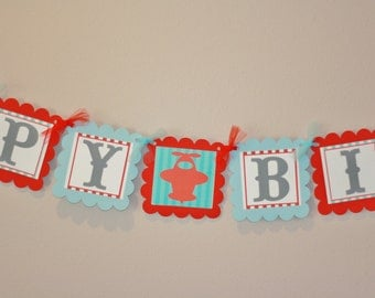 Happy Birthday Vintage Airplane, Hot Air Balloon or Sailboat Theme Banner - Ask About Our Party Pack Specials