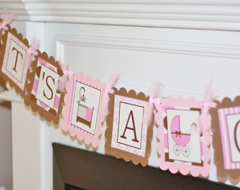 Party Pack SALE - Its A Girl Baby Shower Banner, 12 Cupcake Toppers & Door Sign - Blue, Purple or Yellow/Green Available Too