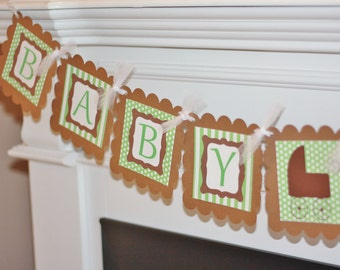 "Baby Shower Green Polka Dot Stripe Buggy ""Baby Boy"" or ""Baby Girl"" Baby Shower Banner"
