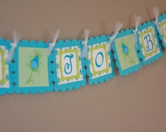 """Blue & Green Peacock Feather Bridal Shower """"Bride to Be"""" Banner - Ask about our Party Pack Special"""