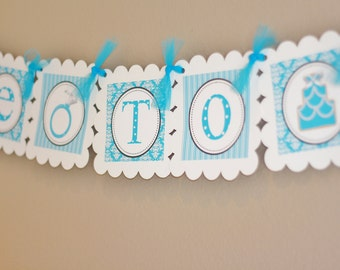 Party Pack SALE - Turquoise Blue Bridal Shower Banner, 12 Toppers & Door Sign