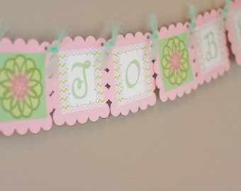 """Flower Pink & Green Chevron Bridal Shower """"Bride to Be"""" or """"Tie the Knot"""" Banner - Ask about our Party Pack Special"""