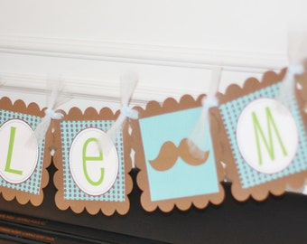 "Blue and Brown Mustache & Bowtie Baby Shower ""Little Man"" or ""Its a Boy"" Banner - Ask About our Party Pack Special"