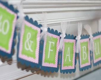 Happy Birthday Chevron 65 & Fabulous Theme Banner - Can Also Be a Bachelorette Banner - Free Ship Over 65.00