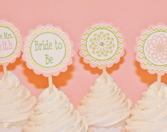 12 - Pink Green Flower Chevron Bridal Shower Cupcake Toppers - Ask About our Party Pack Sale - Free Ship Over 65.00