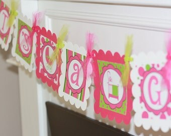 """Funky Mom Hot Pink & Lime Green Baby Shower """"It's A Girl"""" or Custom Name Banner - Ask About our Party Pack Specials"""