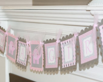 "Baby Shower Pink & Grey Elephant ""It's a Girl"" Baby Shower Banner - Ask About Party Pack"