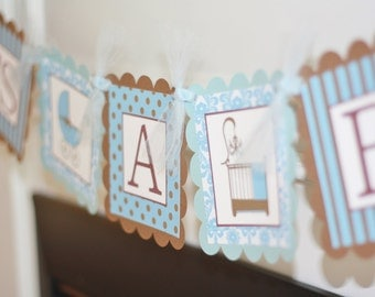 "Party Pack SALE - ""Its a Boy"" Baby Shower Boy Banner, 12 Cupcake Toppers & Door Sign-Pink, Purple or Yellow Available Too"