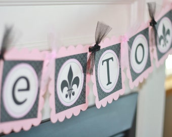 """Pink & Black Fleur de Lis Bridal Shower Wedding """"Bride to Be"""" Banner - Or Pick Your Colors - Ask about our Party Pack Special"""