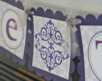 """Damask Purple Silver Grey Scroll Bridal Shower """"Bride to Be"""" Banner - Ask about our Party Pack Special"""