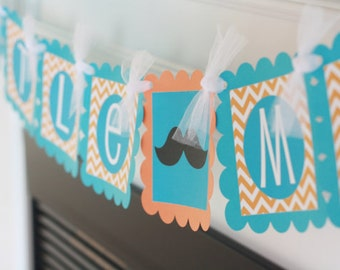 """PARTY PACK - Mustache Baby Shower Mustache Tie or Bowtie """"Little Man"""" or """"Its a Boy"""" Party Collection - Banner, 12 Cupcake Toppers Door Sign"""