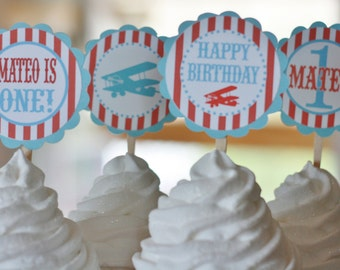 12 Red & Blue Vintage Airplane Theme Birthday Cupcake Toppers - Ask About our Party Pack Sale - Free Ship Over 65.00