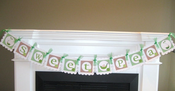 Sweet Pea Baby Shower Banner - Also in Pink and Green Version - Matching Cupcake Toppers, Tags, & Door Sign Available - Free Ship Over 65.00