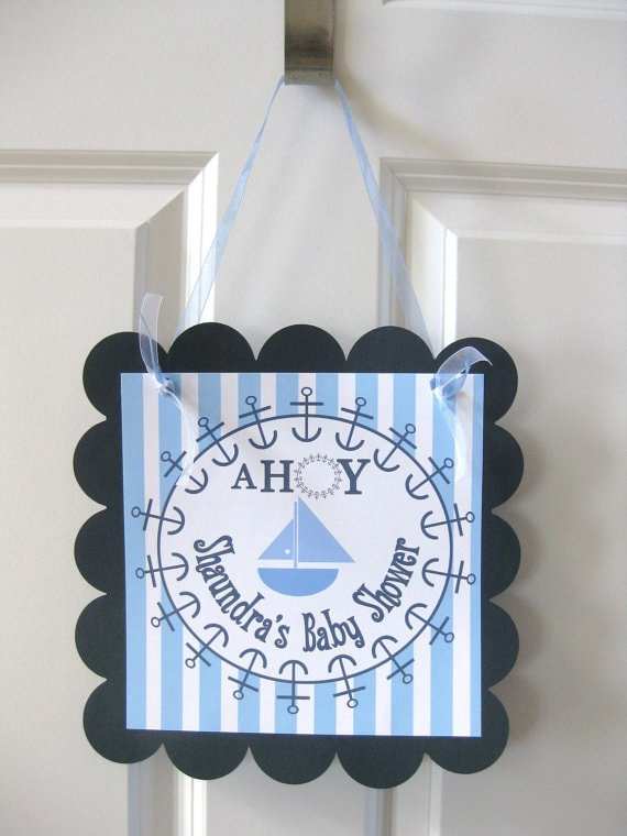 """Ahoy """"It's a Boy"""" Baby Shower Door Sign Hanger  - More Colors Available - Ask About Our Party Pack Specials"""