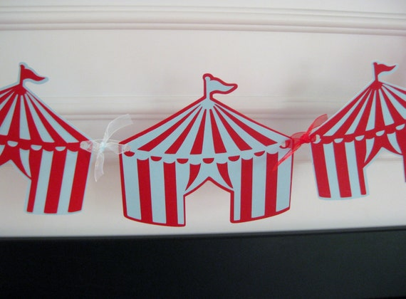 Vintage Circus Tent Birthday Party or Baby Shower Garland Banner - You Pick Your Colors - Free Ship Over 40.00