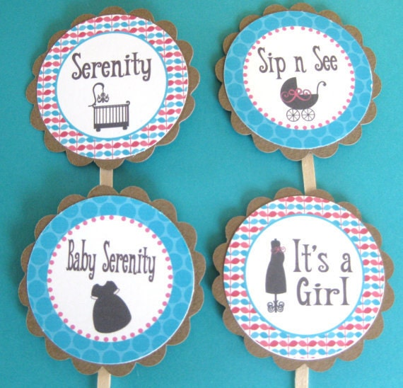12  - Turquoise and Pink Baby Shower Girl or Boy Theme Cupcake or Cake Toppers - Ask About our Party Pack Special - Free Ship Over 60.00