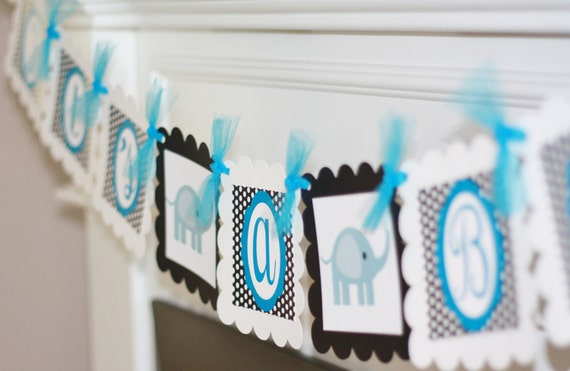 """Black White and Turquoise Elephant """"It's a Boy"""" """"It's a Girl"""" Baby Shower Banner"""