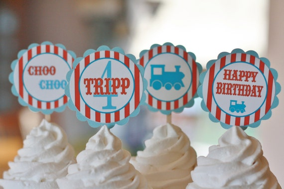 12 Vintage Train Theme Birthday Cupcake or Cake Toppers - Ask About our Party Pack Sale - Free Ship Over 65.00