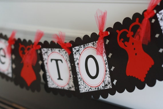 """Black and White Scroll Damask Lingerie Bridal Shower Bachelorette """"Bride to Be"""" Banner -  Ask about our Party Pack Special"""