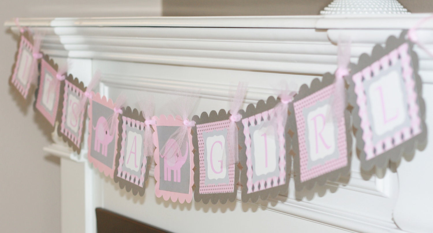baby shower pink grey elephant it 39 s a girl