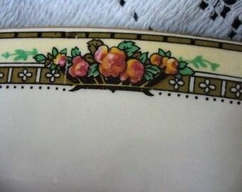 Pink Roses Yellow Gold Black Grindley Large Earthenware Serving Platter Vintage English Turkey Platter