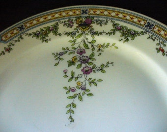 Porcelain Delicate Blues Green Yellow Pink Floral Bavarian China, Heinrich & Co. pattern 10899, Dinner Plates (odd lot of 5)