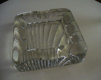 Decorator Accent, Beach House Decor, Clear Square Shell Heavy Molded Glass Ashtray
