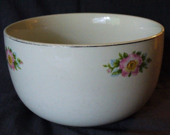 Cottage Decor Kitchen Collectable Vintage Hall Pottery Stoneware Platinum Green Blue Pink Yellow, Rose White, Straight-sided Mixing bowl