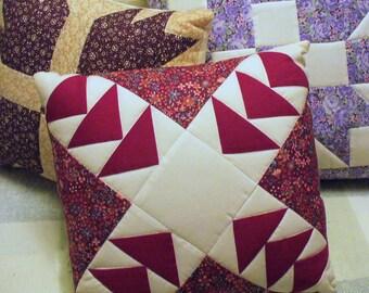 Cotton Burgundy Garnet Claret Quilted Reds White WILD GOOSE CHASE Patchwork Pillow Cottage Decor