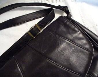 SALE Espresso Black Coffee Leather vintage crossbody shoulder bag purse