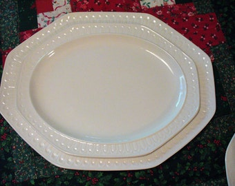 Simple Large Oval Platter, WHITE, Embossed, ACANTHUS pattern Ironstone by Pontesa
