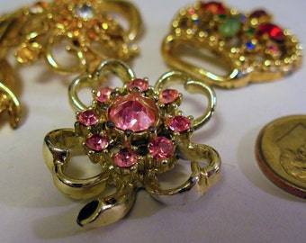 Vintage Costume Jewelry pieces Gold & Silver toned Metal and Rhinestones DESTASH for Re-purposing Assemblage