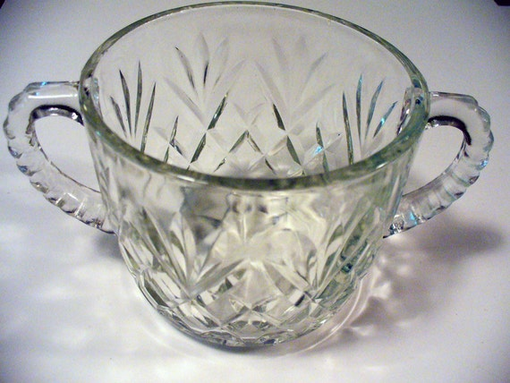 Vintage Depression Glass Starburst Clear Cut Crystal Fans Diamonds Stars Pineapple Pressed Glass, Two handled open sugar, Anchor Hocking