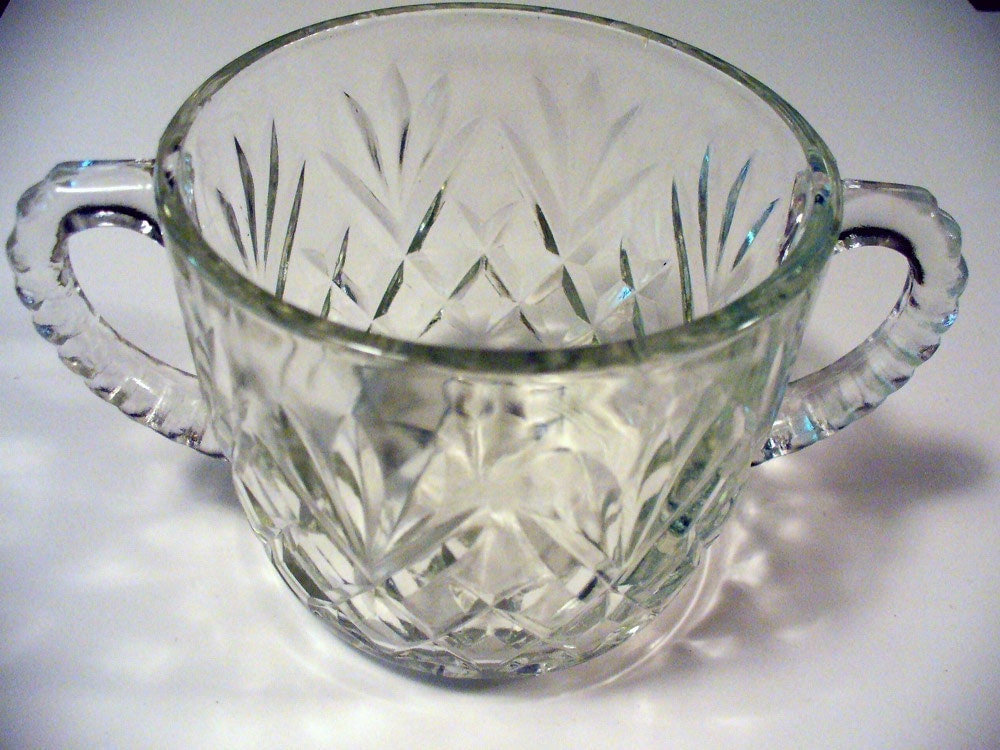 Vintage depression glass starburst clear cut crystal fans - Starburst glassware ...