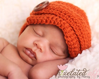 Crochet Newsboy Beanie with Button or Crochet Flower