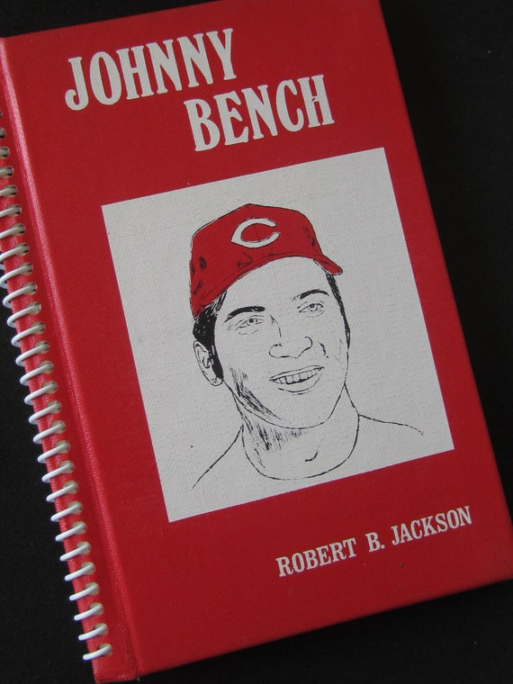 REDUCED  Johnny Bench BASEBALL book journal notebook Recycled Upcycled Spiral Bound - red and white