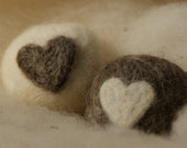 His and Hers - Small Hearts Hand Felted Soaps - White Peach and Shea Butter