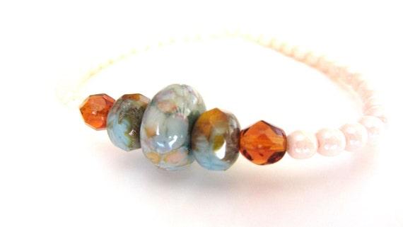 Glass Bead Bracelet, Lampwork Beaded Bracelet, Glass Bead Jewelry, Lampwork Jewelry