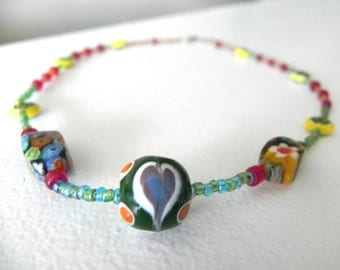 Colorful Beaded Necklace, Floral Beads